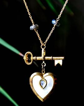 Golden Locket Gemstone Necklace
