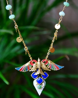 Moroccan Flyer Vintage contemporary vintage bird necklace