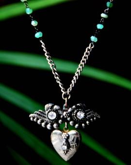 Wonder Wings Silver locket contemporary vintage necklace