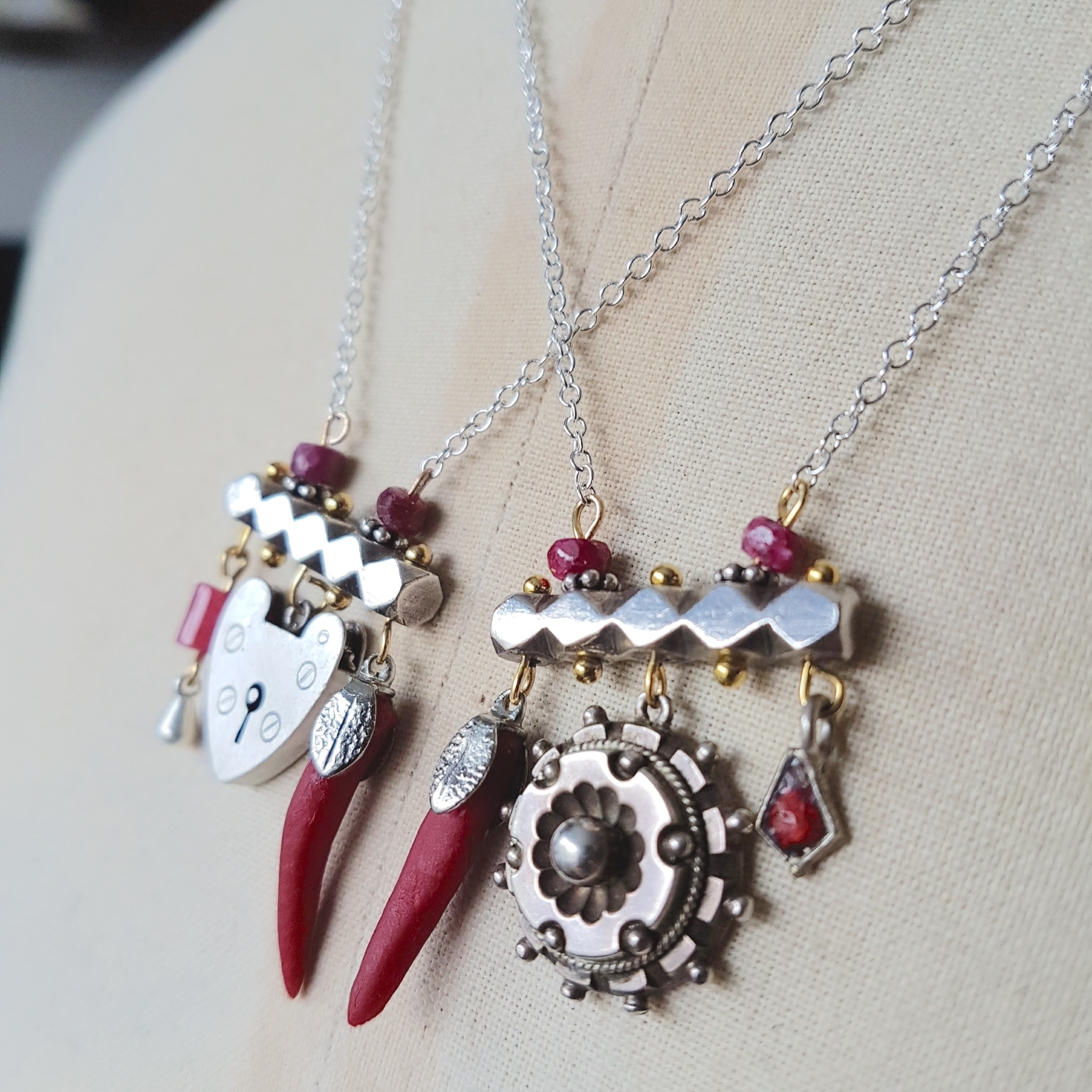 b8a8c34175b1f Silver And Ruby Bohemian Charm Necklaces