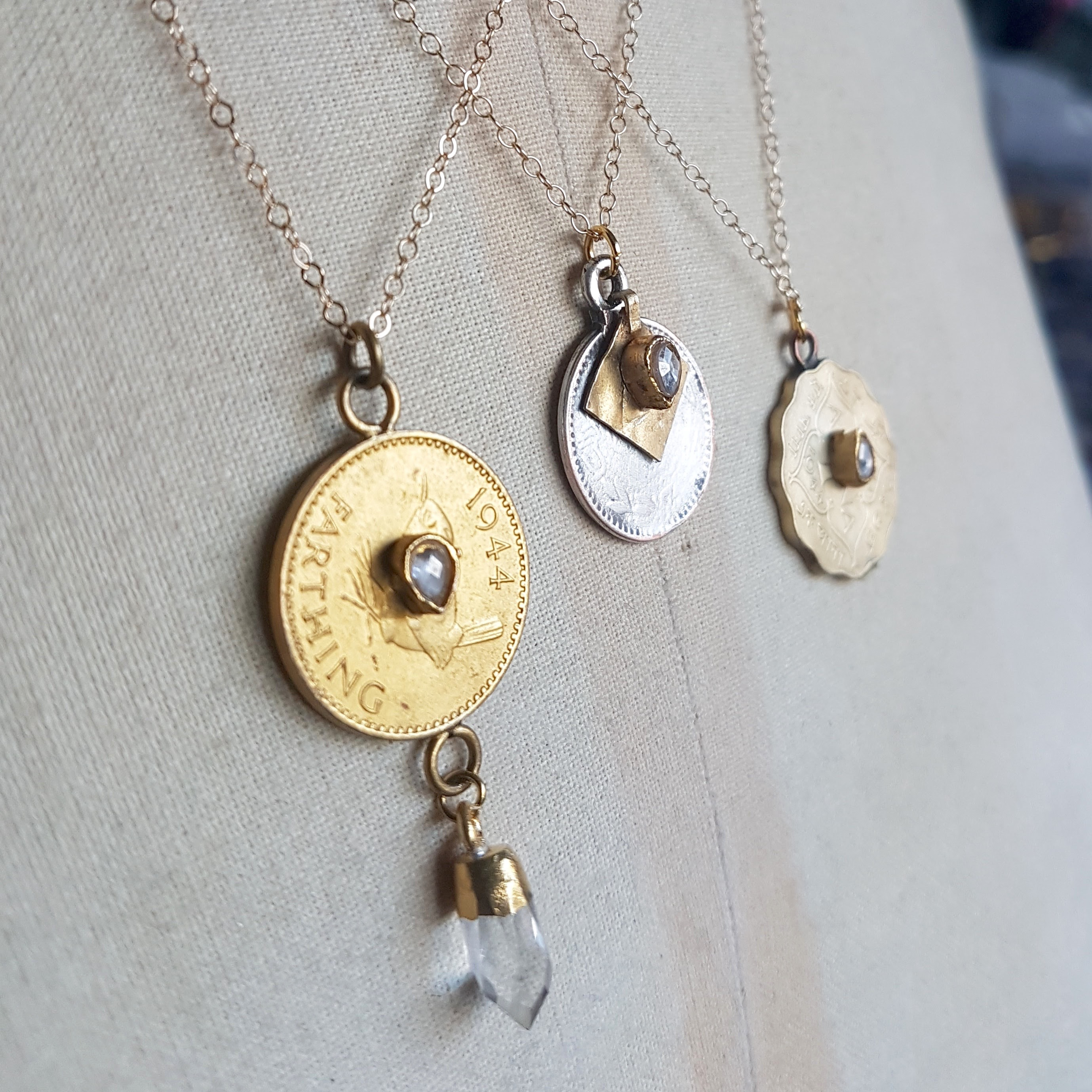 86085ea397946 Crystal Drop And Golden Coin Pendant
